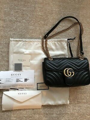 75b3f0500 Gucci Marmont Bag Authentic Small Quilted Leather Black New With Receipt