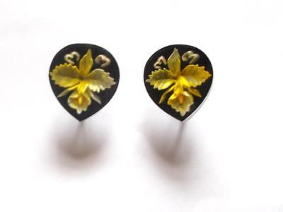 Vintage 1940's Reverse Carved Lucite Black Yellow Lily Orchid Flower Earrings
