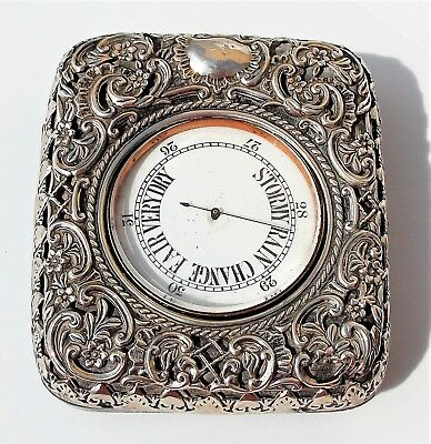 BEAUTIFUL VICTORIAN George Randle SOLID SILVER SCROLL CASE & ANEROID BAROMETER