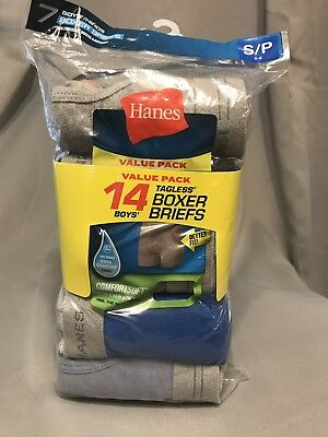 Hanes Comfortsoft Tagless Boys Boxer Briefs 14pair Value Pack Small S/P 6-8