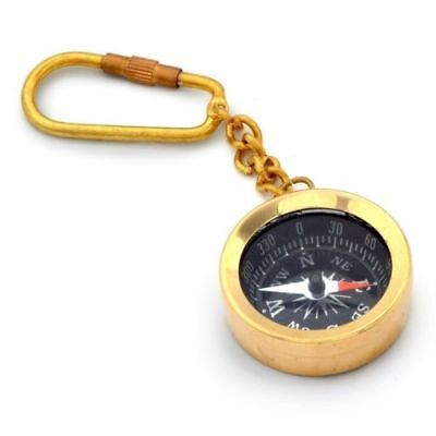 Solid Brass Push Button Compass Reproduction  Pocket Sundial Compass Gpj