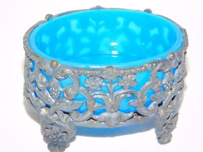 Antique OPALINE BLUE GLASS & FILIGREE PEWTER Salt Cellar Small Footed Dish