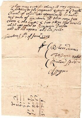 1709, Tiverton, Rhode Island, assessors signed, Col. Church, negroes and swine