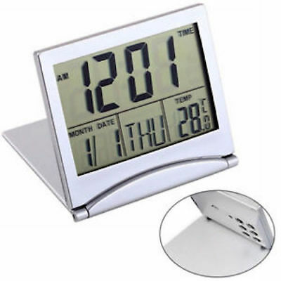 Digital LCD Folding Desk Travel Alarm Clock Trip - Temperature Date Calendar K72