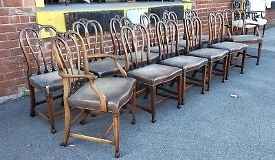 Set Of 12 1930s Mahogany Adam's Style Dining Room Chairs w/ Leather Seats