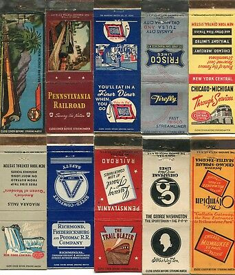 100 Railroad Front Strike Matchcovers - Many Different Railroad Lines