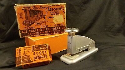 Ace Scout Vintage Stapler Stapling Machine No 202 in Box No 200 Staples In Boxes