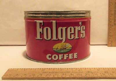 ©1952 Folger's COFFEE - VACUUM PACKED - Mountain Grown - empty TIN - no lid