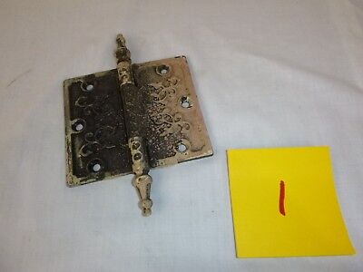 "Vtg Antique Steeple Door Hinge Ornate 4""H x 4.5""W Victorian Eastlake Set #1"