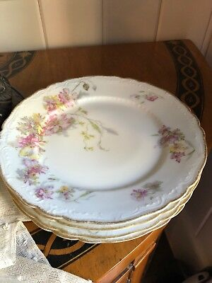 Antique French HAVILAND Limoges Gilded Flowers Roses Plates JE Caldwell X 4