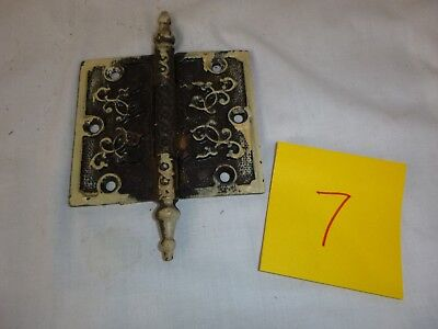 "Pr Vtg Antique Steeple Door Hinge Ornate 4""H x 4.5""W Victorian Eastlake Set #7"