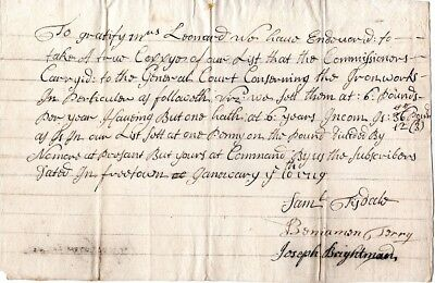1719, Freetown, Mass; commissioners of the court, signed re: Leonard Iron Works