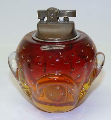 Vintage Mid-Century MURANO ART GLASS Cigarette LIGHTER Red! -CLEAN! FreeShipping