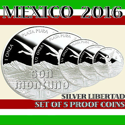CLOSEOUT SPECIAL - 2016 Mexico Set of 5 Silver Libertad Proof Coins BLOWOUT SALE