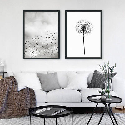 Black White Nordic Dandelion Goose Canvas Art Painting Posters Wall Mural Decor
