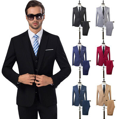 2PCS Men's Formal Blazer Suit Slim Fit Tuxedo Coat Pants Wedding Groom Trousers