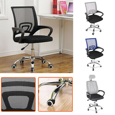 Office Mesh Chair Adjustable Lift Ergonomic Computer 360° Swivel Chrome Fabric