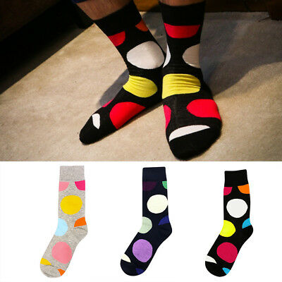 1 Pair High Quality Cotton Mens Mid Tube Socks Big Dot Sock Comfortable Trend