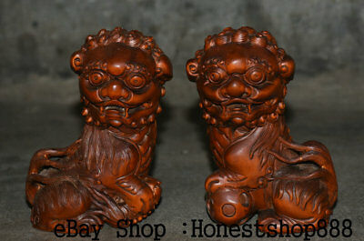 "5"" Old Chinese Boxwood Wood Feng Shui Foo Fu Dog Guardion Lion Ball Statue Pair"