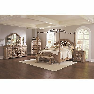 4 Pc Antique Linen Wood & Metal King Canopy Poster Bed Bedroom Furniture Set