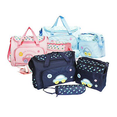 4pcs Baby Nappy Changing Bag Set Diaper Bag Mummy Shoulder Messenger Pad