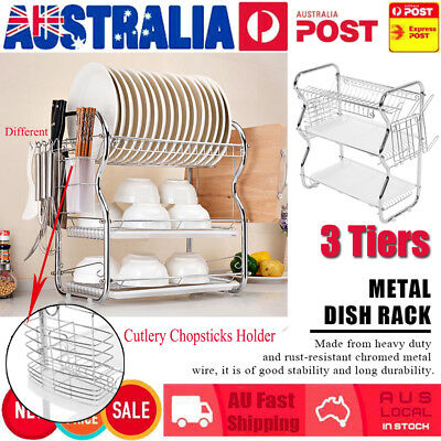 3 Layer Steel Kitchen Dish Cup Drying Rack Drainer Tray Cutlery Holder Organiser