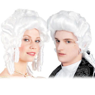 White Baroque Wig Adults Fancy Dress Victorian French Renaissance Costume Wigs