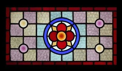 Fabulous English Victorian Rondels Stained Glass Transom Window