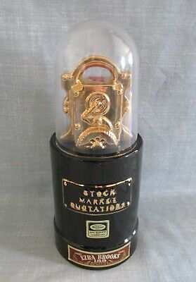 Ezra Brooks Stock Market Quotations With 24K Gold Trim Whiskey Decanter 1970