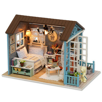 DIY Miniature Wooden Doll House Kit LED Light Furniture Handcraft Kid Toy Gift