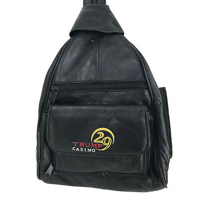 Donald Trump 29 Casino Small Black Soft Vinyl Backpack Day Pack Crossbody Bag