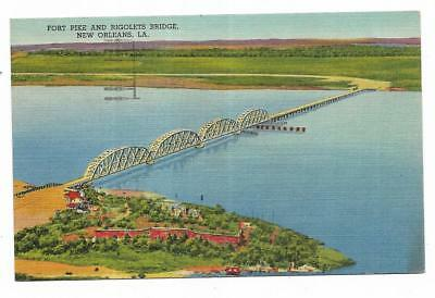 Vintage Louisiana Linen Postcard Fort Pike and Rigolets Bridge New Orleans