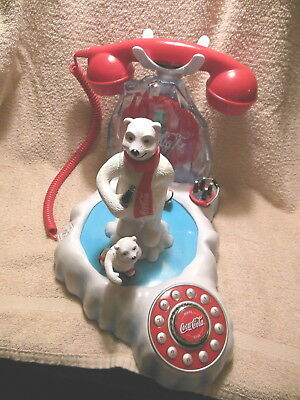 Coca Cola Amimated Musical Light Up Polar Bear W/ Cubs Novelty Telephone