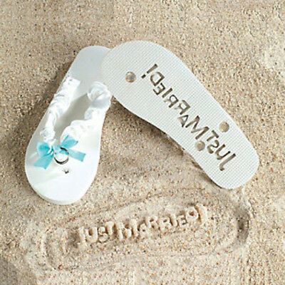 Just Married- Brides White & Blue Flip Flops Wedding Bridal Sandals Large