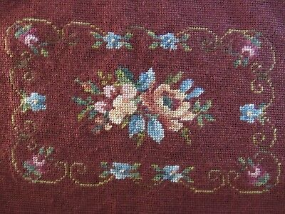 Vtg Floral Needlepoint Completed Burgundy Background Pillow Small Chair Seat