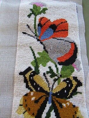 Vintage BUTTERFLY Needlepoint BELL PULL Nearly Completed