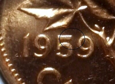 Canada 1959 Small Cent *Pointed 5* Choice BU UNC Uncirculated Penny!!