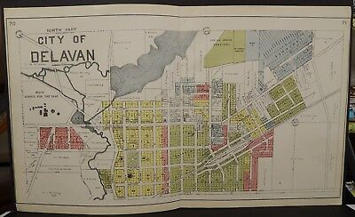 Wisconsin Walworth County Map City of Delavan  1921 -  2 Double Pages J21#43