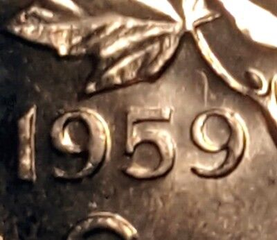 Canada 1959 Small Cent *Hanging 9* Choice BU UNC Uncirculated Penny!!