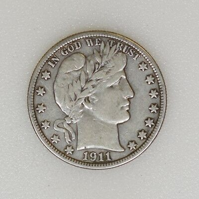 1911-P VF Condition Barber Silver Half Dollar Nice Strike & Color - I-15144 G
