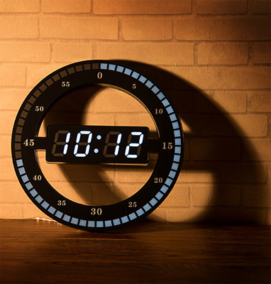 12 inch LED ring round clock mute photosensitive pure digital electronic clock