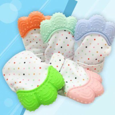 1 Pcs Food Grade Silicone Baby Teether Toys Teething Mitten Molar Gloves RG