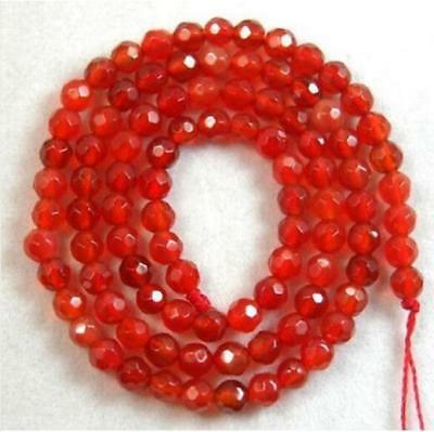4mm Natural Gemstone Necklace Red Ruby Round Faceted Loose Healing beauty