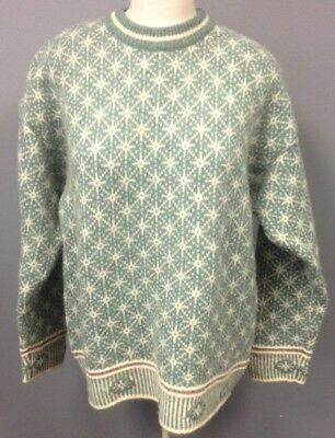 f7bcbe2b32e UNITED COLORS OF BENETTON Vintage Ivory Green Wool Pullover Sweater Sz L  FF6471