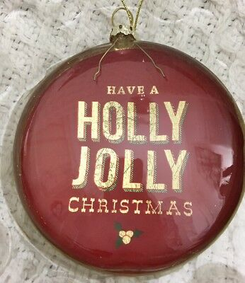 Have A Holly Jolly Christmas Round Glass Ornament - New In Box