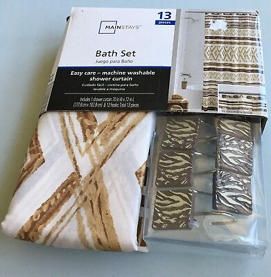 Mainstays Bath Set Shower Curtain With Hooks