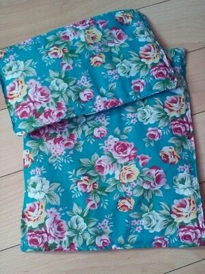 """DOLLS PRAM COT QUILT SET VINTAGE TURQUOISE WITH PINK & YELLOW ROSES 10"""" x 12"""""""