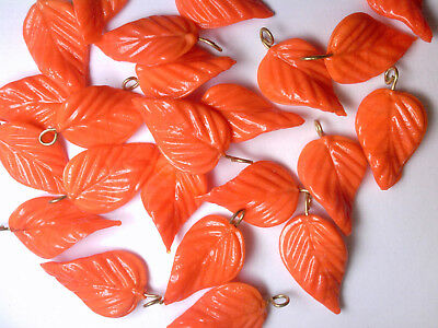 Vtg 24 Opaque Orange Glass Curvy Veined Leaves Pressed Bead Pendant #100514