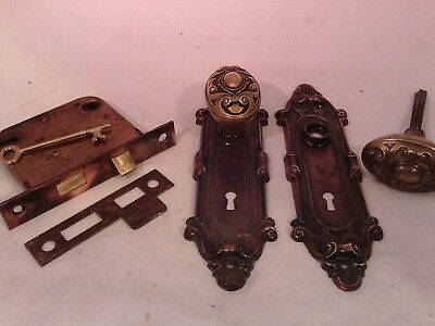 Antique Cast Brass Oval Door Knob Set  Y&T Mortise Lock Key doorz2.co #719