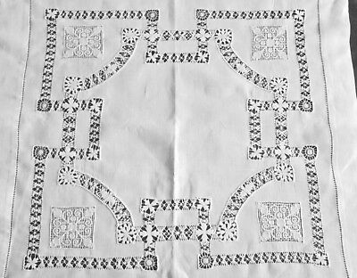"""superb antique linen tea tablecloth lovely Mexican drawn work+filet lace  23"""" sq"""
